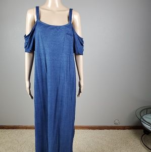 Anthropology Cloth and Stone Maxi Blue Knit Dress
